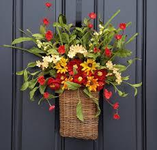 Spring Wreaths For Door by Spring Wreaths For Front Door Country Flower Basket Basket