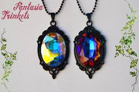 long black pendant necklace images Color shifting czech crystal jewel on a black pendant necklace jpg