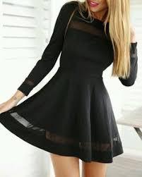 long sleeves zipper high waist pleated little black dress