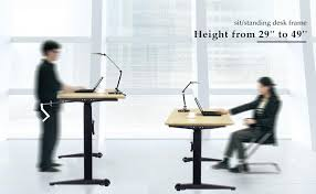 desk frame allows you to raise and lower the surface with a simple hand crank so you can align your neck and spine whether standing or sitting