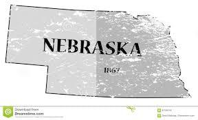 Nebraska State Map Nebraska State And Date Map Grunged Stock Illustration Image