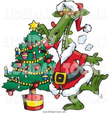 royalty free holiday cartoon of a santa dragon decorating a