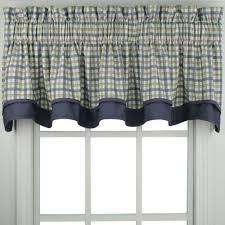 Valance Blue Bristol Plaid Two Tone Kitchen U0026 Tier Curtain Ellis Curtain