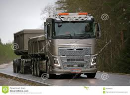 commercial truck volvo bronze volvo fh16 combination truck on the road editorial image