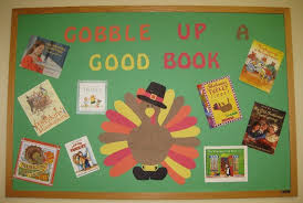 gobble up a book thanksgiving display board bulletin boards