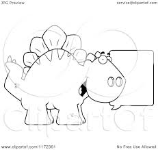 cartoon clipart of a talking stegosaurus dinosaur vector