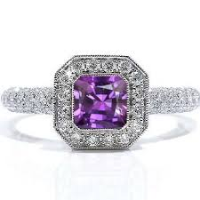 amethyst engagement rings emerald cut amethyst engagement ring this