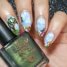 catching up on nail art april blue skies springtime little