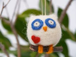 needle felted bue owl ornament the magic onions store