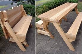 bench awesome one piece folding and picnic table plans