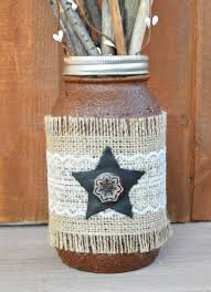 lace leather and burlap grubby mason jar with star quart size
