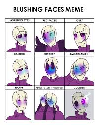Meme Faces Meaning - blushing faces meme ot by bunnymuse on deviantart