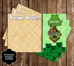 minecraft inspired birthday thank you card printable