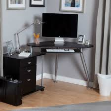 Mobile Computer Desks For Home Interesting Rectangle Black Metal Mobile Computer Desk Glass
