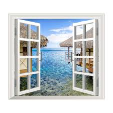 safety decals for glass doors 3d artificial window view 3d wall decals sea view room stickers