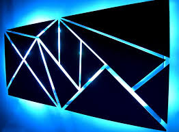 fracture lighted metal wall sculpture with led color changing