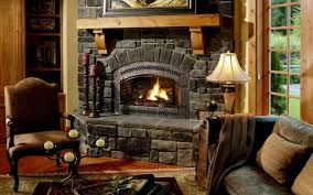 interior charming rustic stone fireplaces by gray stone