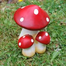 coloured terracotta or toadstool garden ornament