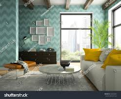 interior living room blue wallpapers 3d stock illustration