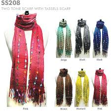 ss208 two tone scarf with tassels scarf wholesale scarves