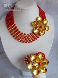 fashion jewelry red necklace images Hotsale fashion red gold flower coral jewelry set coral necklace jpg