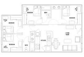 4 bed floor plans 4 bed 2 bath heritage commons student housing atlanta ga