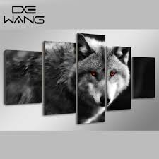 5 panels hd printed oil modern painting wolf pack canvas animal
