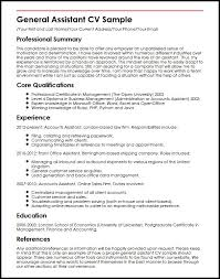 Accounting Assistant Resume Sample by General Assistant Cv Sample Myperfectcv