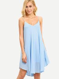 light blue shift dress light blue spaghetti strap asymmetrical shift dress emmacloth women