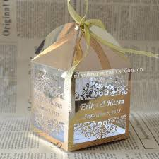 personalized wedding favor boxes personalised laser candy box gold wedding favor box gold in gift