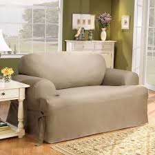 Three Cushion Sofa Slipcovers Sure Fit Cotton Duck T Cushion Sofa Slipcover U0026 Reviews Wayfair