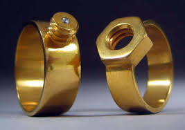 gear wedding ring mating nut bolt wedding bands
