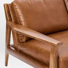 Sofa Wood Frame Mathias Mid Century Wood Frame Leather Sofa 82 5