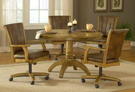 Dining Room Sets With Wheels On Chairs Hillsdale Grand Bay Round Dining Set With Caster Chair Oak