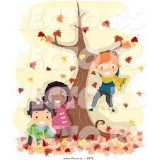 vector happy cartoon kids playing tree autumn leaves