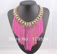 pink rhinestone necklace images 2018 2013 new fringe tassel chain necklace rhinestone crystal neon jpg