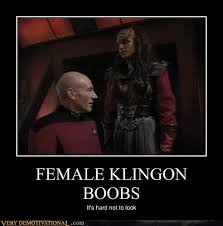 Tits Meme - female klingon boobs very demotivational demotivational