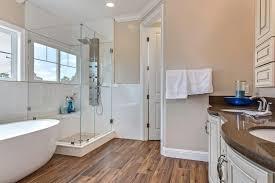 contemporary master bathroom with specialty door flush in