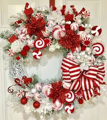christmas wreath holiday wreath red and white stripes candy
