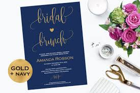 bridal brunch invitations navy blue and gold bridal brunch invitation printable bridal
