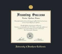 diploma frame size custom diploma frames certificate frames framing success usc
