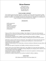 Lab Manager Resume Professional Construction Site Supervisor Resume Templates To