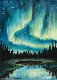 how to paint northern lights artstation mini watercolor northern lights 1 katie croonenberghs
