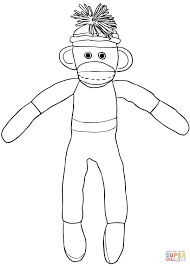 christmas sock monkey coloring page free printable coloring pages