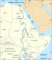 nile river on map blue and white nile river imaged courtesy commons