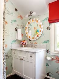 bathroom beach theme kids bathroom with fish paintings on the