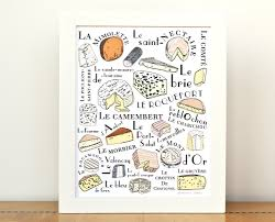 kitchen art french cheeses home decor art print 8x10