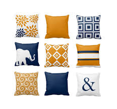 throw pillow covers navy orange pillow couch cushion blue orange