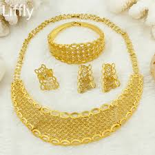 big necklace sets images Wholesale 2018 luxury bride gold jewelry big necklace earrings jpg
