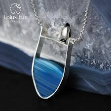 agate jewelry necklace images Lotus fun real 925 sterling silver natural agate handmade fine jpg